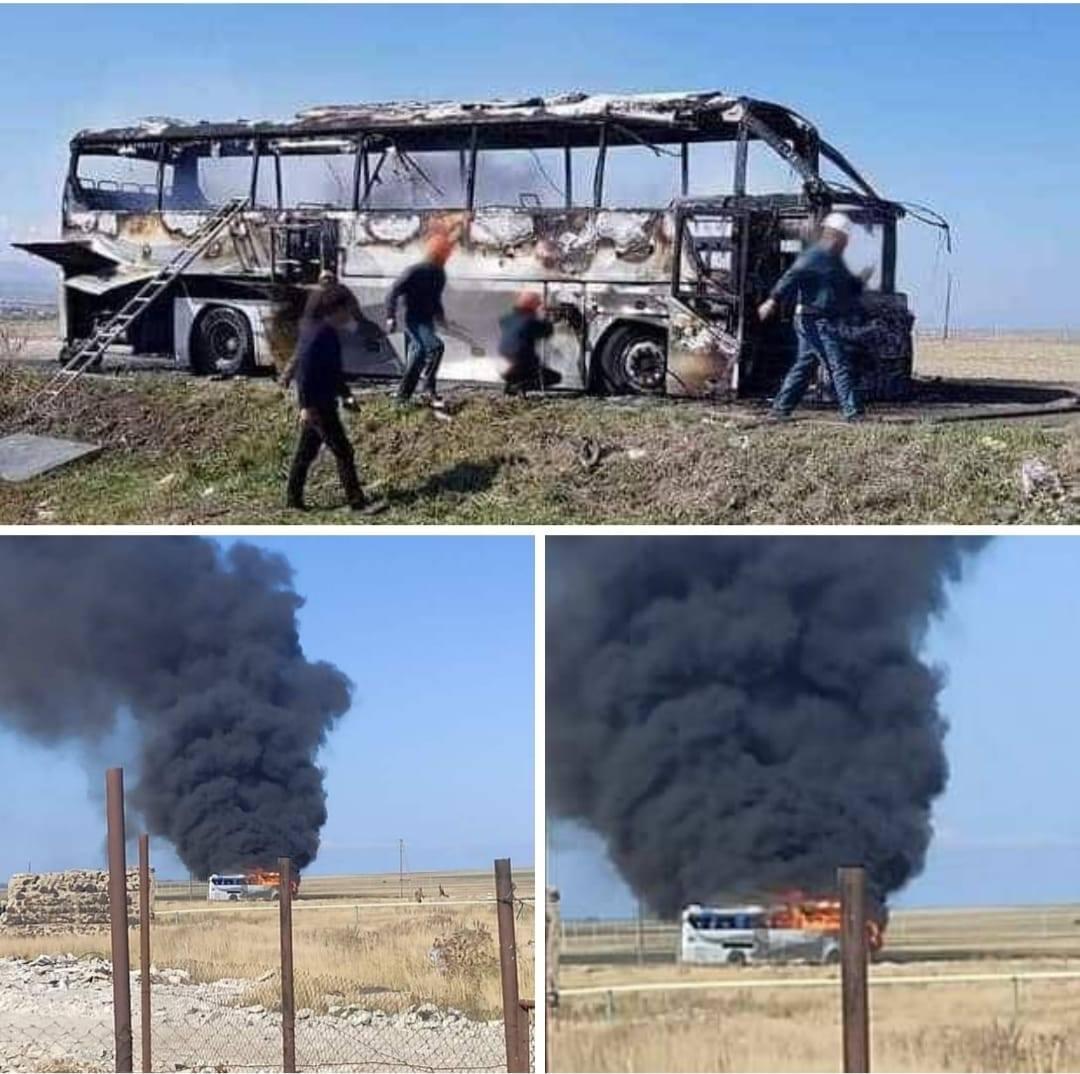 Распространились кадры из салона уничтоженного автобуса с армянскими добровольцами - ФОТО